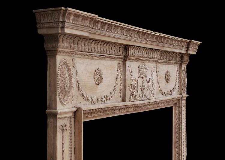 AN 18TH CENTURY PINE AND GESSO FIREPLACE-Detail3