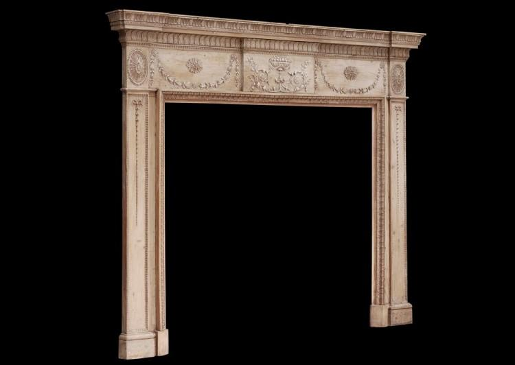 AN 18TH CENTURY PINE AND GESSO FIREPLACE-Detail4