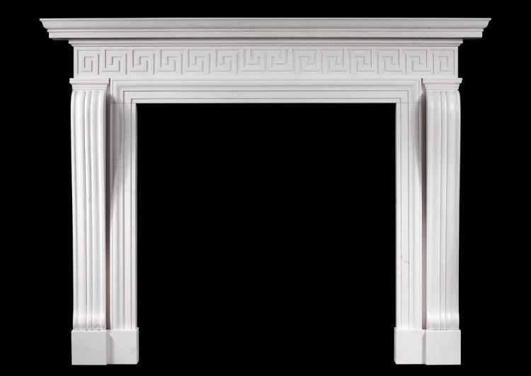 An English Georgian style fireplace with Greek key pattern