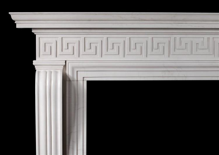 AN ENGLISH REGENCY STYLE FIREPLACE WITH GREEK KEY PATTERN-Detail1