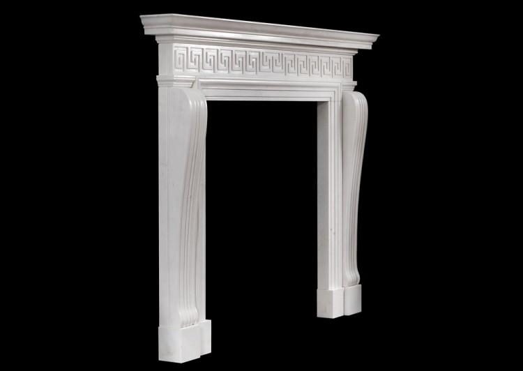 AN ENGLISH REGENCY STYLE FIREPLACE WITH GREEK KEY PATTERN-Detail4