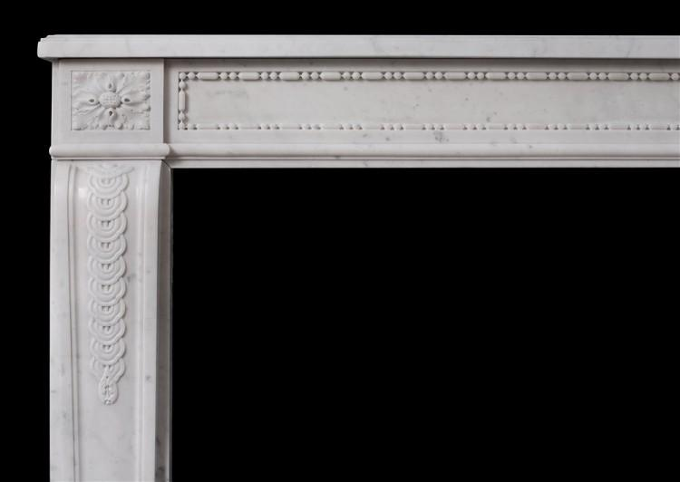 AN EARLY 19TH CENTURY ANTIQUE FRENCH LOUIS XVI STYLE CARRARA MARBLE MANTEL-Detail1