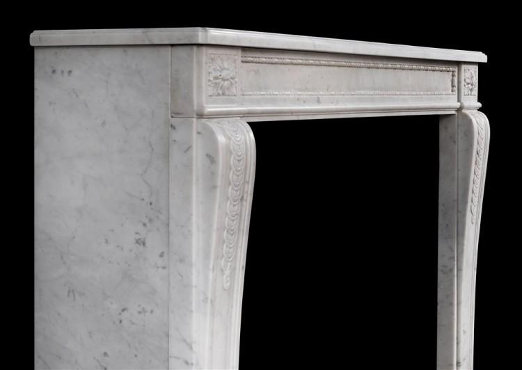 AN EARLY 19TH CENTURY ANTIQUE FRENCH LOUIS XVI STYLE CARRARA MARBLE MANTEL-Detail3