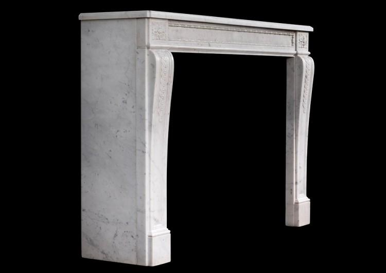 AN EARLY 19TH CENTURY ANTIQUE FRENCH LOUIS XVI STYLE CARRARA MARBLE MANTEL-Detail4