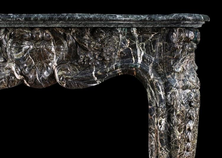 A 19TH CENTURY FRENCH LOUIS XV STYLE FIREPLACE IN TINOS GREEN MARBLE-Detail2