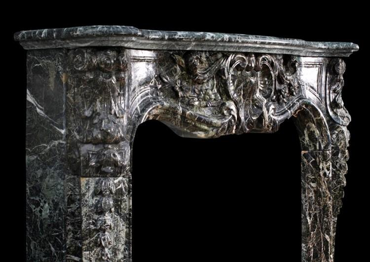 A 19TH CENTURY FRENCH LOUIS XV STYLE FIREPLACE IN TINOS GREEN MARBLE-Detail3