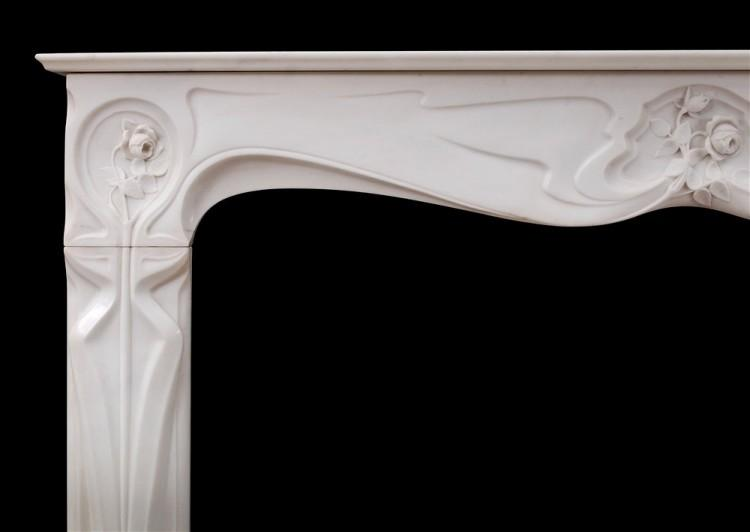 A REFINED FRENCH ART NOUVEAU WHITE STATUARY MARBLE FIREPLACE-Detail1