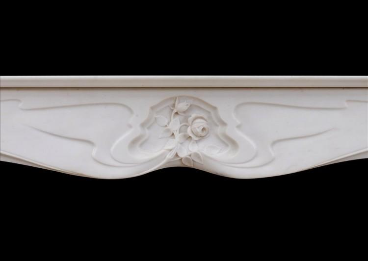 A REFINED FRENCH ART NOUVEAU WHITE STATUARY MARBLE FIREPLACE-Detail2