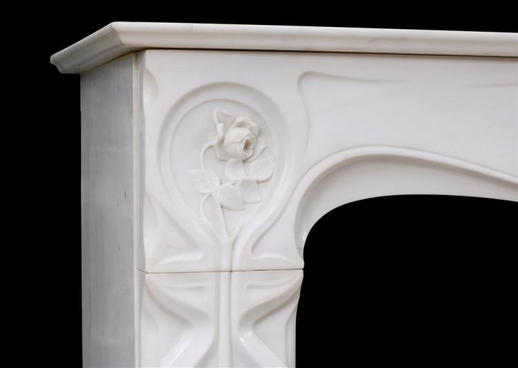 A REFINED FRENCH ART NOUVEAU WHITE STATUARY MARBLE FIREPLACE-Detail4