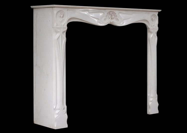 A REFINED FRENCH ART NOUVEAU WHITE STATUARY MARBLE FIREPLACE-Detail5