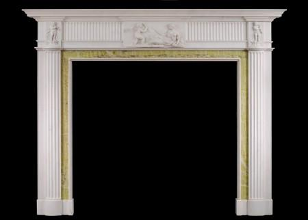 AN ENGLISH GEORGIAN FIREPLACE IN STATUARY MARBLE