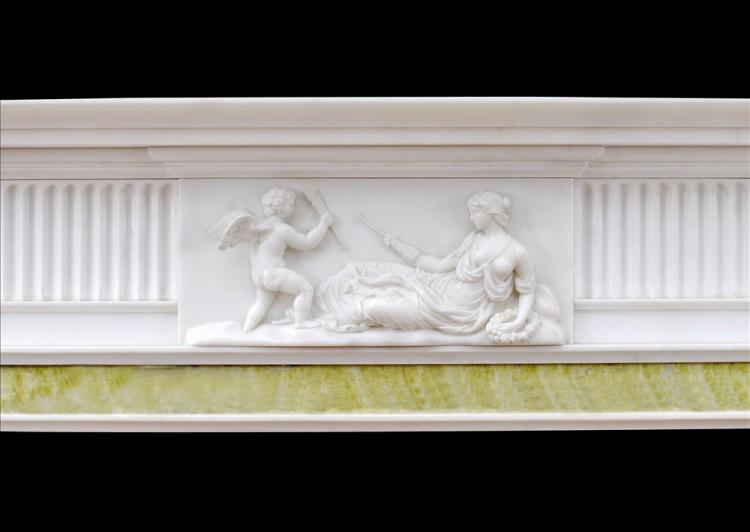 AN ENGLISH GEORGIAN FIREPLACE IN STATUARY MARBLE-Detail1