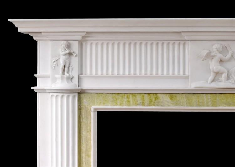 AN ENGLISH GEORGIAN FIREPLACE IN STATUARY MARBLE-Detail2