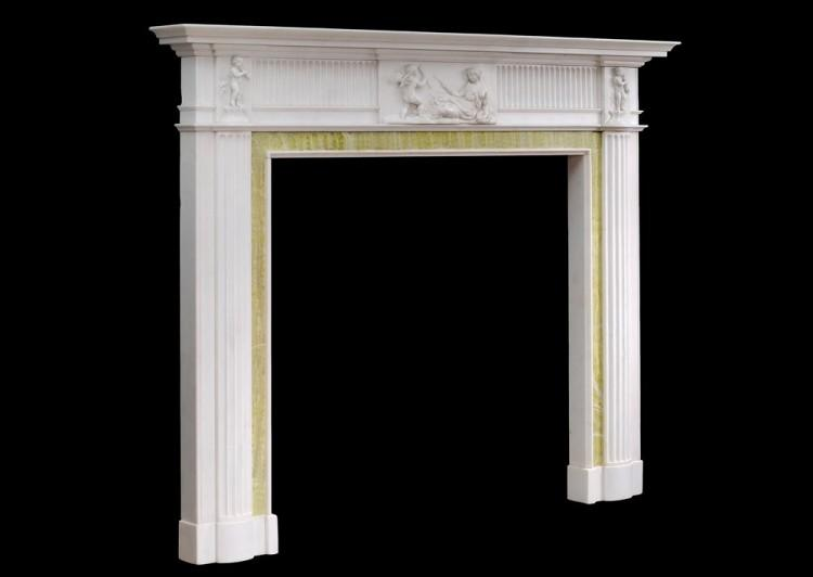 AN ENGLISH GEORGIAN FIREPLACE IN STATUARY MARBLE-Detail3
