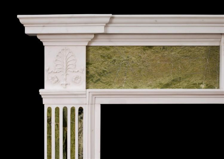 AN 18TH CENTURY GEORGE III STATUARY AND CONNEMARA MARBLE CHIMNEYPIECE-Detail1