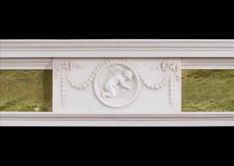 AN 18TH CENTURY GEORGE III STATUARY AND CONNEMARA MARBLE CHIMNEYPIECE-Detail2