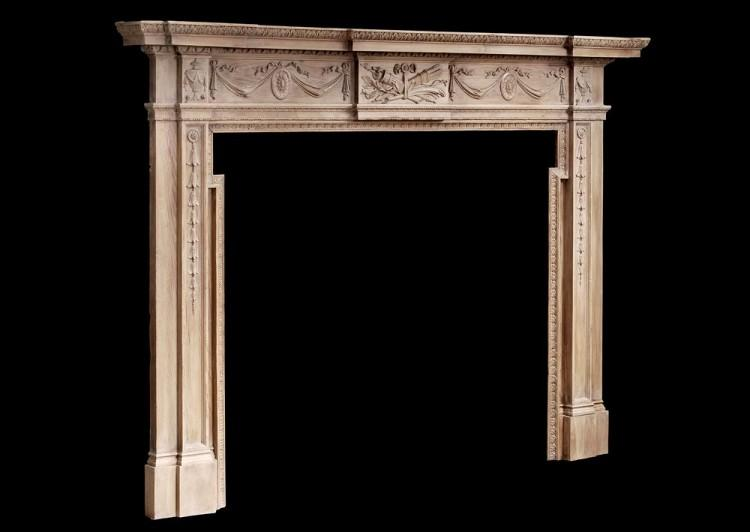 A LARGE ENGLISH WOOD FIREPLACE IN THE GEORGIAN STYLE-Detail3