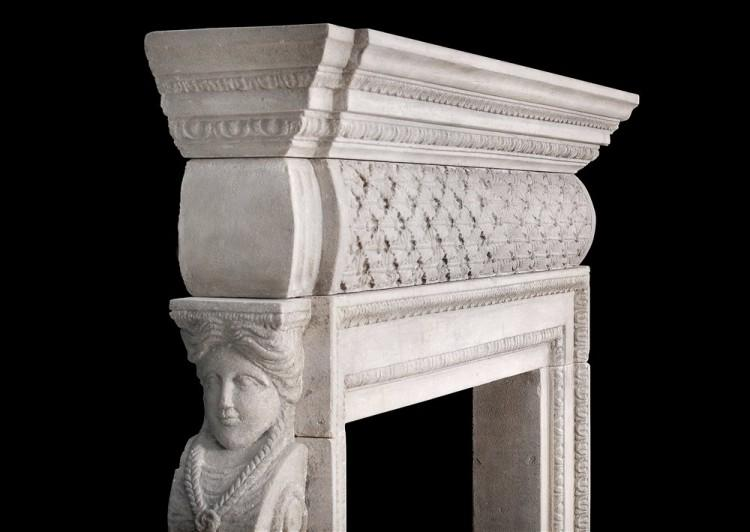 A PETITE GEORGIAN STYLE STONE FIREPLACE-Detail4