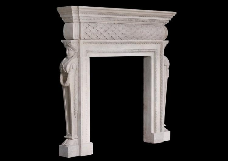 A PETITE GEORGIAN STYLE STONE FIREPLACE-Detail5