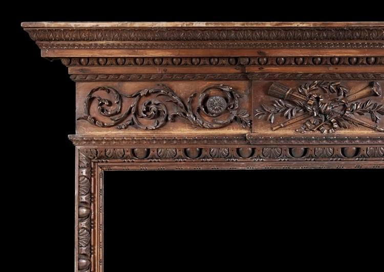 A LATE 18TH CENTURY CARVED PINE ENGLISH FIREPLACE-Detail1
