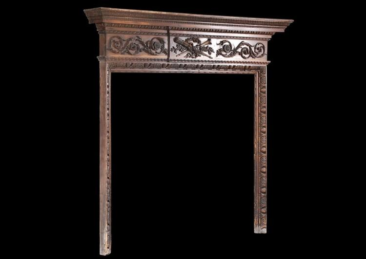 A LATE 18TH CENTURY CARVED PINE ENGLISH FIREPLACE-Detail3