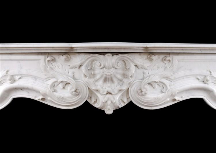 A FINE QUALITY FRENCH LOUIS XV STYLE MARBLE FIREPLACE IN CARRARA MARBLE-Detail1