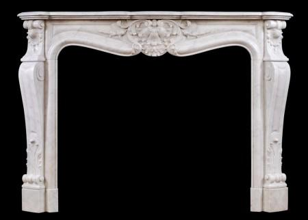 A 19TH CENTURY FRENCH LOUIS XV STYLE ANTIQUE CARRARA MARBLE FIREPLACE