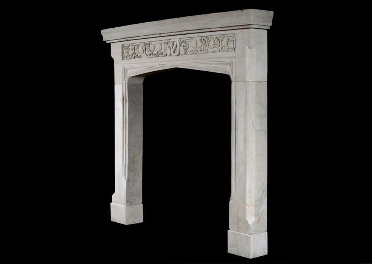AN ENGLISH GOTHIC STONE FIREPLACE WITH CARVED FRIEZE-Detail3