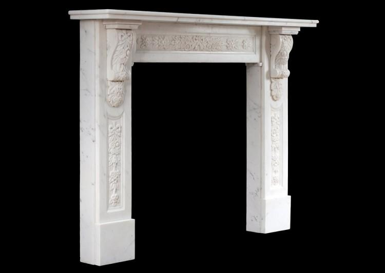 AN EARLY VICTORIAN ENGLISH STATUARY MARBLE FIREPLACE-Detail4