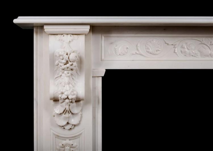 A WELL CARVED VICTORIAN ENGLISH STATUARY MARBLE FIREPLACE-Detail1