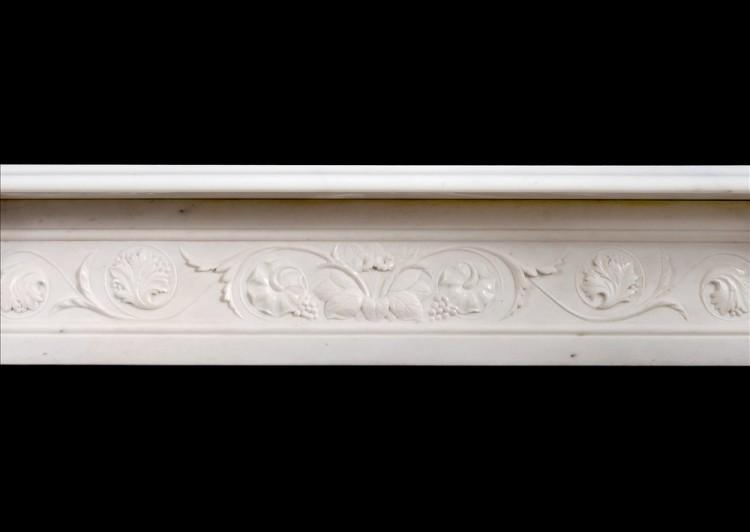 A WELL CARVED VICTORIAN ENGLISH STATUARY MARBLE FIREPLACE-Detail2