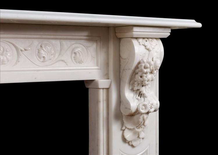 A WELL CARVED VICTORIAN ENGLISH STATUARY MARBLE FIREPLACE-Detail3