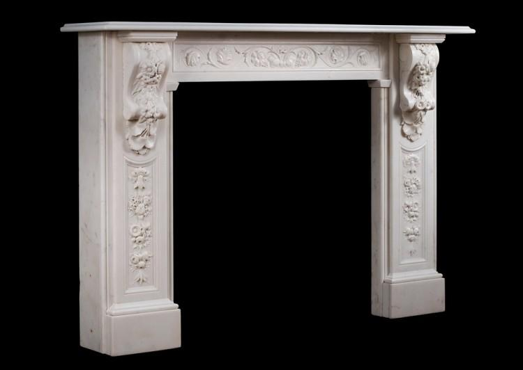 A WELL CARVED VICTORIAN ENGLISH STATUARY MARBLE FIREPLACE-Detail5