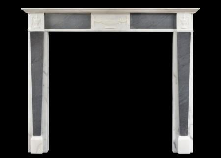 A PETITE REGENCY FIREPLACE IN STATUARY AND GREY BARDIGLIO MARBLE