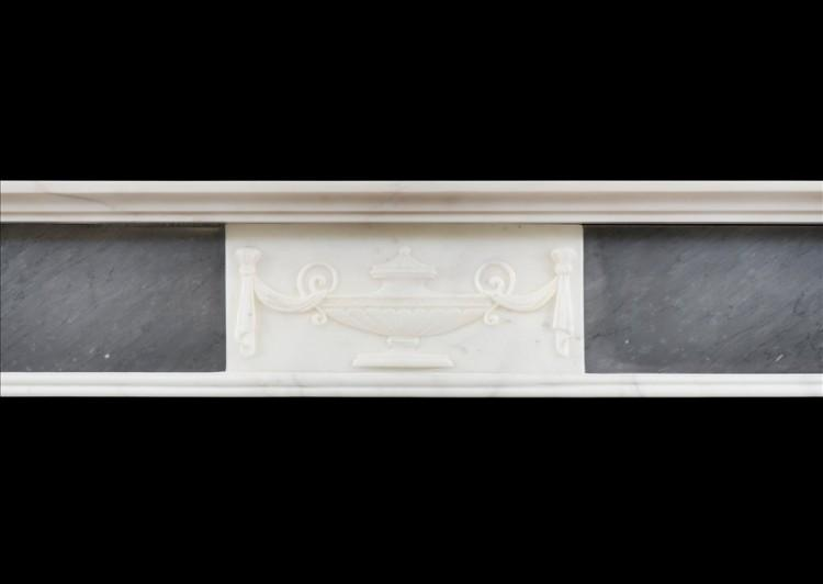 A PETITE REGENCY FIREPLACE IN STATUARY AND GREY BARDIGLIO MARBLE-Detail2