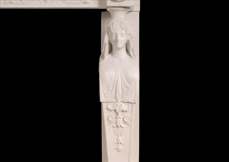 A FINE QUALITY ANTIQUE REGENCY STATUARY MARBLE FIREPLACE WITH CARYATID FIGURES-Detail1