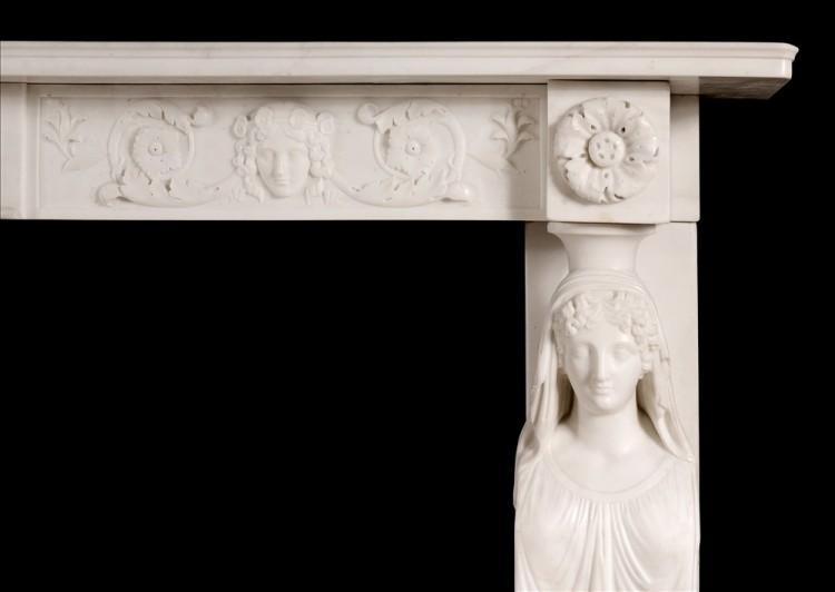 A FINE QUALITY ANTIQUE REGENCY STATUARY MARBLE FIREPLACE WITH CARYATID FIGURES-Detail2
