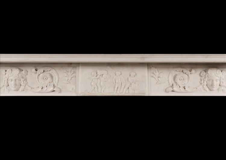 A FINE QUALITY ANTIQUE REGENCY STATUARY MARBLE FIREPLACE WITH CARYATID FIGURES-Detail3