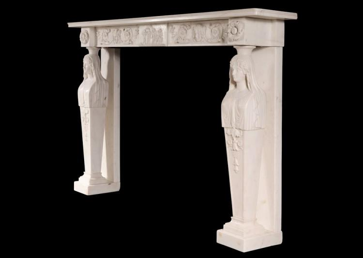 A FINE QUALITY ANTIQUE REGENCY STATUARY MARBLE FIREPLACE WITH CARYATID FIGURES-Detail4