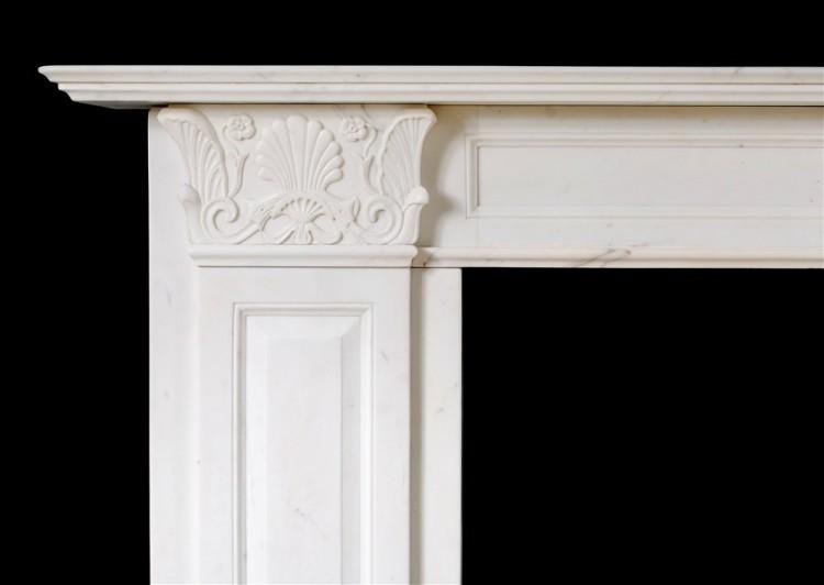 A STATUARY REGENCY MARBLE FIREPLACE IN THE MANNER OF THOMAS HOPE-Detail1