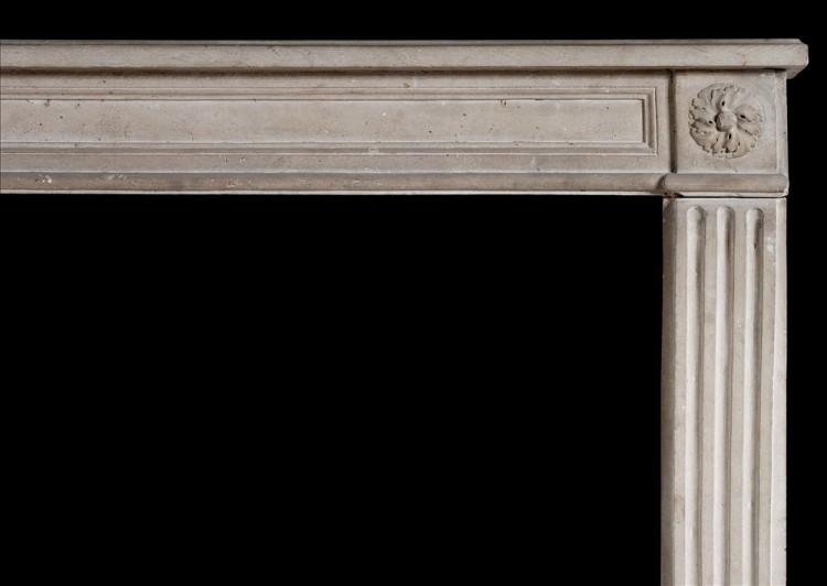 A 19TH CENTURY FRENCH LOUIS XVI STYLE STONE FIREPLACE-Detail1