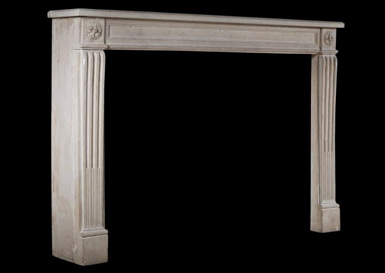 A 19TH CENTURY FRENCH LOUIS XVI STYLE STONE FIREPLACE-Detail2