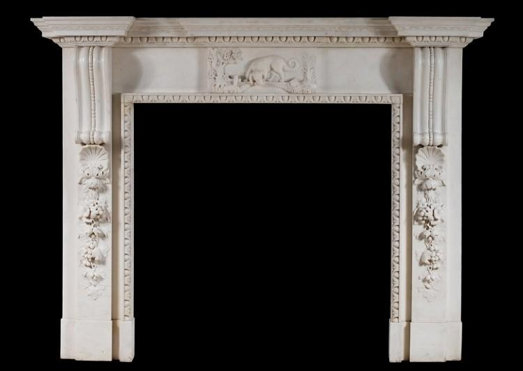 A mid Georgian style fireplace in white marble