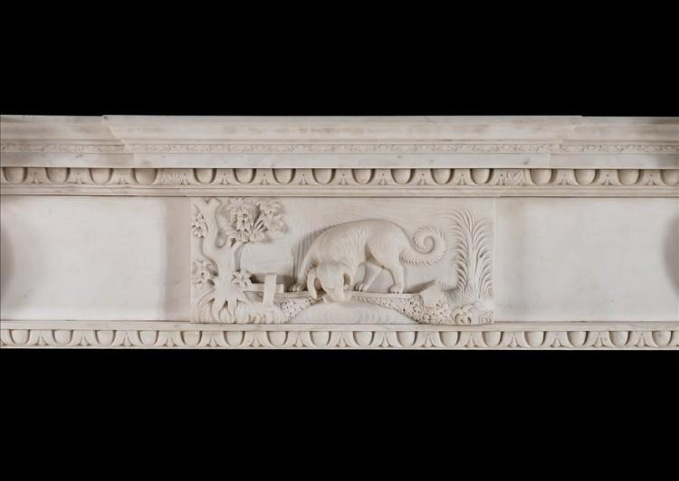 A MID GEORGIAN STYLE FIREPLACE IN WHITE MARBLE-Detail1