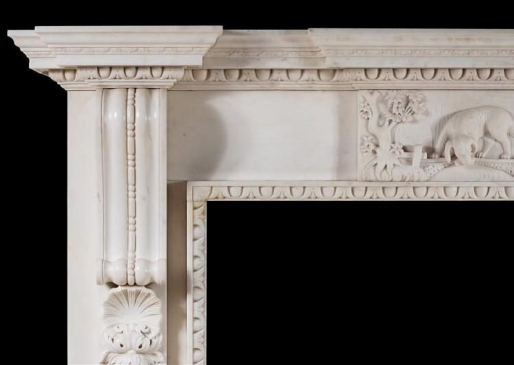 A MID GEORGIAN STYLE FIREPLACE IN WHITE MARBLE-Detail2