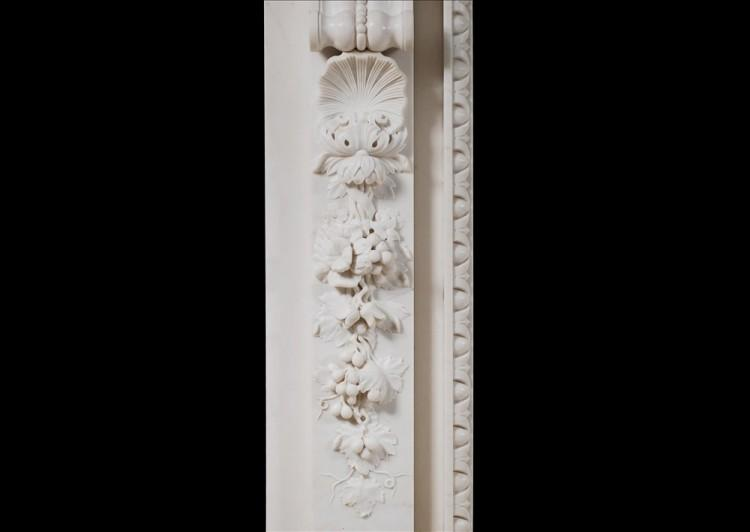 A MID GEORGIAN STYLE FIREPLACE IN WHITE MARBLE-Detail3