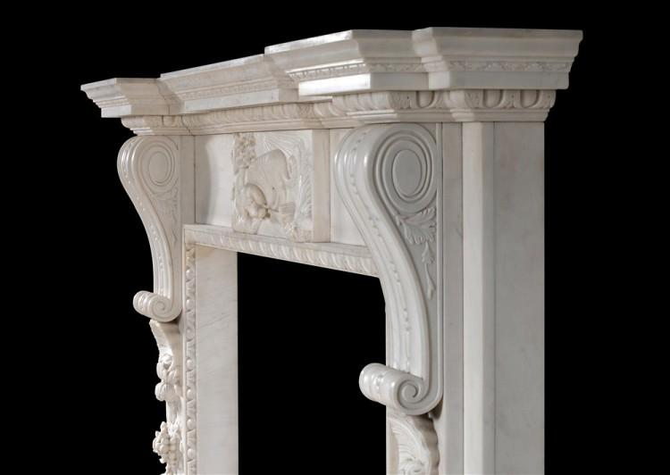 A MID GEORGIAN STYLE FIREPLACE IN WHITE MARBLE-Detail4