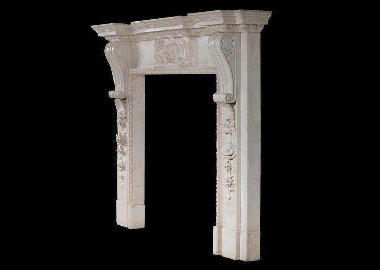 A MID GEORGIAN STYLE FIREPLACE IN WHITE MARBLE-Detail5