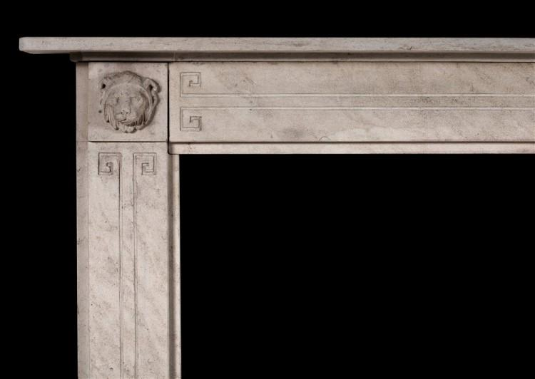 A FINE QUALITY PERIOD REGENCY LIMESTONE CHIMNEYPIECE WITH CARVED LIONS-Detail1