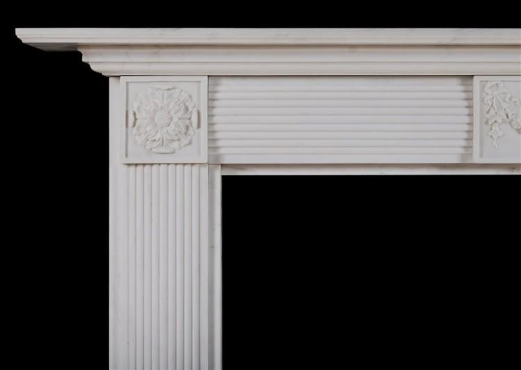 AN ENGLISH WHITE MARBLE FIREPLACE IN THE REGENCY STYLE-Detail2